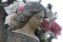 Angels Beyond the Grave /  Angels Found in the Cemetery are a Symbol of Spirituality. They Guard the Tomb and are Thought to be Messengers Between God and Man. / by Edna Gooden
