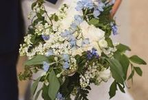 Hannah's bursting with spring wedding / White, blue and green spring wedding flowers.