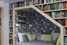 Bookcases... places for those bound beauties I like to read! / Creative ideas on interior design that I would love to include in my library... I mean home!