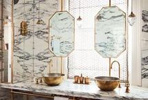 Bathroom Design and Styling / Inspiration for how to style your bathrooms, washrooms, wash closet, baths, tubs, taps, faucets, shower, sinks, basins, tiles, pipes, shower screen and more