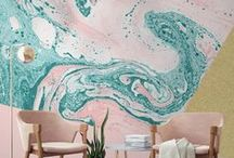 Wall Coverings - Wall paper and paint ideas! / Inspiration for wallpaper, painting, wall murals, decals and alternative ways of how to cover your wall, rendering, textured, light, dark, colourful and simple wall finishes