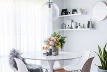 Dining Room Design and Styling / Ideas on how to style and decorate your dining room and spaces for eating, sharing food, entertaining, and spend time with family and friends over dinner, lunch and breakfast