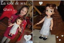 Poupées et robes de poupées / J'ai craqué pour les magnifiques poupées Disney de la collection Animator ... ma fille a eu Belle pour son anniversaire, et j'ai décidé de me lancer dans la couture pour lui faire une petite garde-robe !
