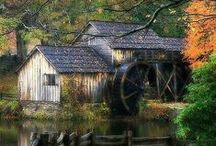 Wooden Heart and Stone  / The beauty of the barn, covered bridge, mill, church or shed around the world - old and new / by Marilyn Baker