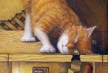 CAT ART / CATS & ART ILLUSTRATIONS / by Jackie Walmer