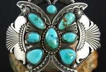 Silver + Turquoise / American Indian made, or Native inspired.