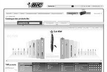Design d'interaction - Bic / Design d'interaction et architecture de l'information d'applications pour Bic. Référentiel des produits (stylos et rasoirs) + fond documentaire commercial.