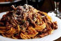 Italian Food / Italian cooking recipes. Pasta, grilled meat, fritters.