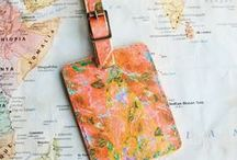 Jet Set Summer / These vibrant printed leather luggage tags would make a great gift for a 3rd wedding anniversary, a traveller, or a wedding.  And would be a great gift for a traveler, for their first big adventure on their Gap year, for a special trip, or those that simply love their summer getaways in the sun!  Secured onto your case with an antiqued brass or silver roller buckle, these luxury handcrafted luggage tags will last a lifetime.