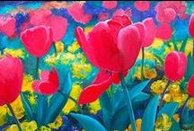 Flower Paintings, floral, living room decor, cottage decor / Oil paintings of flowers and still life