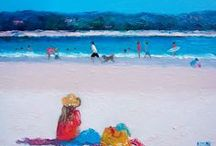 """Johnny's Beach Holiday / These paintings were from a series titled """"Johnny's Beach Holiday'."""
