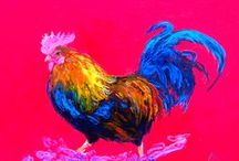 Roosters & Chickens Kitchen Decor / Oil paintings of colorful roosters and chickens for kitchen wall decor or nursery decor.