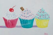 Kitchen Decor, Country Cottage - Paintings / Oil Paintings for the kitchen, cup cakes, fruit and animals.