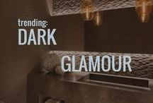 Trending: Dark Glamour / A design trend rich in deep color tones and intricate details.  Where lighting plays a key roll to create a moody vibe, contrasting highs & lows to bring depth and interest to a space.  Follow Esteban Interiors on Facebook and Instagram too.
