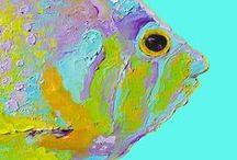 Coastal Decor / Paintings for coastal decor including Fish, Shells, Crabs, Mermaid and beach scenes.
