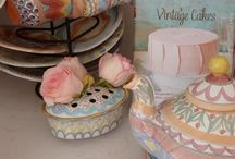 Our Pink and White Cottage Kitchen / shabby chic kitchen limestone floors  walnut countertops