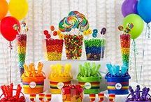 Party: Rainbow Party / If you want to have a colored theme party, rainbow, crayons, candy...etc. this is a fun group of ideas for rainbow parties!