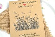 Seed Packet Wedding Favours / Some of our wildflower seed packets for couples who care about the environment - by giving your guests wildflower seeds you are helping our bees and butterflies by providing the flowers they need to survive!  Great eco-friendly wedding favours.  We can also adapt the designs ofr parties, birthdays, corporate events etc.
