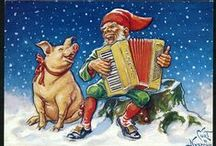 Julkort av Curt Nyström / Christmas illustrations by Swedish artist Curt Nyström.