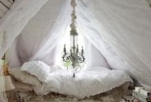 Romantic Bedroom Retreat  / Every girl deserves a private retreat; intimate, ethereal, luxurious, soft, and timeless with a touch of vintage Hollywood glamour mixed with deliciously dilapidated heirlooms.  Sinfully sumptuous bedding and piles of pillows top off our Romantic Room Collection designed for the princess within all of us!