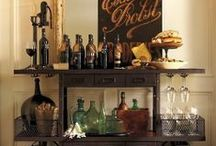 "Its Five O Clock Somewhere / The secret to Happy Holidays is a well-stocked bar! A well designed home bar filled with a smart set of indispensable tools, glass and serve ware, spirits and the right mixers means you're ready to ask, ""What are you having?"" Shop Indeed Decor for all your home bar essentials."