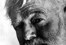~ Hemingway ~ / Ernest Miller Hemingway was an American author and journalist. His economical and understated style had a strong influence on 20th-century fiction, while his life of adventure and his public image influenced later generations.   Born: July 21, 1899, Oak Park, IL Died: July 2, 1961, Ketchum, ID / by Beverly J.