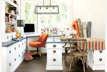 Creative dens / #craftrooms #studios #desks #setups #crafts #supplies #storage #inspiration #ideas / by Think Orange