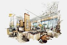 RENDERINGS - Design, Fashion / There is nothing like a raw room sketch. So full of ideas, so full of possibilities. For a designer the completed sketch is almost as exhilarating as the completed room.
