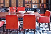 Red Inspiration / This board highlights different uses of the color red in decor and design - from high energy instances to subtle pops of color.