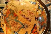 Around the World-Globe Decor / vintage globes, repurposed globes, globe and map crafts