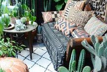 Global Glam Rooms / jungalow, living rooms, bedrooms, bathroom, inspiration, interior design, home decor, cactus, plants, bohemian rooms, bohemian lifestyle, jungalow inspired rooms, african prints, mudcloth, moroccan pouf, moroccan rug, how to style a room, global pillows
