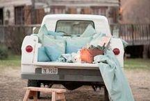 Vintage Trucks at Wedding, Asheville, NC, Mingle Events and Vintage Rentals+ Transportation