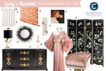 Room Recipe Blush Boudoir / Lady's Boudoir using Workroom C's Valentine Ticking in Ink / by Workroom C by Carolyn Rebuffel Designs