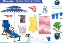 Room Recipe Indigo Poolside / Blue, yellow and pink poolside glam / by Workroom C by Carolyn Rebuffel Designs