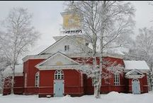 Church, chapel, cemetery and grave monument /  Finnish churches and chapels.