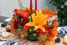 Thanksgiving Decor / Floral centerpieces to decorate your holiday dinner table.  Decorate for Thanksgiving with gorgeous flowers in cornucopias and keepsake containers.  Some with candles.