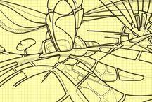 Créations personnelles – 2014 / Dessins de 2014. Il s'agit essentiellement de dessins faits sur mes cahiers de travail. #2014 #sketch #drawing #indianink #brouillon #encredechine