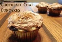 """Chocolate Chai Cupcakes with Cinnamon / Who doesn't love cupcakes? I love having an excuse to make them and, I must say, my son doesn't mind either! Of course, he always thinks it's someones birthday when there are cupcakes around so he sang """"Happy Birthday"""" to me while we whipped these up."""