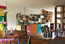 Client M: Kitchen Tweaking / Adding some eclectic pizazz to a rental kitchen that came with fuschia laminated cabinets...