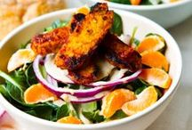Complete Protein Salad / A green salad which includes a protein is a complete meal.  These are vegetarian/vegan salads.  You may or may not choose to accompany a complete salad with a starch in the form of some whole grain bread, croutons, or crackers.