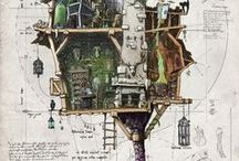 Домики / кукольные домики, рисунки в разрезе, арт