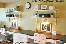 Homework Area Ideas / Ways to transform our small landing into a Homework space. Furniture to organization. Goal: Get the kids papers off the breakfast table! / by Wendi Worley