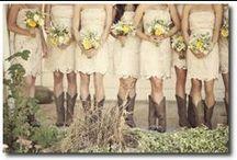 Bridesmaids / Bridesmaids Dresses (Cranberry, Apple) With Cowboy Boots