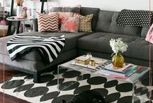 Apartment Livin' / Small spaces, tight budget, boring walls.. Made into a chic, colorful space.