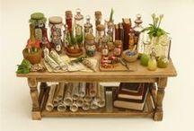 Miniaturen / Miniaturen für Feengärten und Puppenhäuser gebastelt mit natürlichen Materialien oder aus Polymer Clay (Fimo)