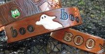 The Boo Collection / Leather dog collars for halloween