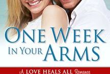 One Week in Your Arms / The cover of the first book in the Love Heals All series and pins relating to the book