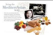 Mediterrasian Diet / eating healthy food from asian and greek backgrounds