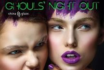"China Glaze - Ghouls Night Out / This Halloween gather your best ""ghoul-friends"" and join China Glaze® for a Ghouls Night Out. Put on your most ""bootiful"" costume and dance the night away at our ultra-exclusive Haunted House Party where other guests will include this limited edition collection of six electric shades including neon crèmes, new glitters and the re-release of ever-popular Ghoulish Glow glow-in-the-dark top coat. Available at fine beauty supply stores including Sally Beauty Supply. ‪#‎CGGhoulsNightOut‬"