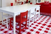 Red & White..Happy Colors❣  / I always wanted a red and white kitchen.  When we moved 5 yrs. ago next door to my Mother after my Dad died, I decided that it's now or never.   So little by little we found the Hoosier and all the other  vintage items.  I'm Blessed beyond measure.   / by Barb Triplett-Brown